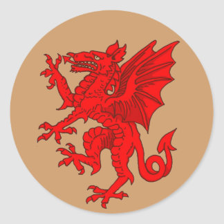 Welsh dragon brown - Customized Classic Round Sticker