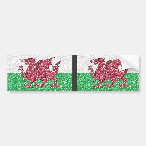Welsh Dragon Bubble Texture Flag Bumper Stickers
