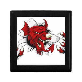 Welsh Dragon Clawing Through Gift Box