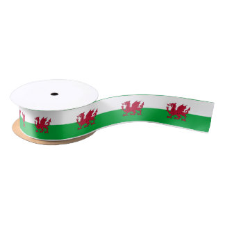Welsh dragon flag ribbon satin ribbon