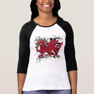 """Welsh Dragon Ladie's 3/4"""" Raglan Shirt"""