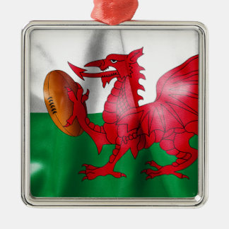 Welsh Dragon Rugby Ball Flag Metal Ornament