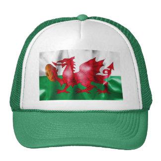 Welsh Dragon Rugby Ball Flag Trucker Hat