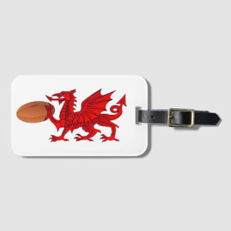 Welsh Dragon With a Rugby Ball Luggage Tag
