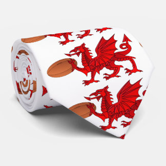 Welsh Dragon With a Rugby Ball Neck Tie