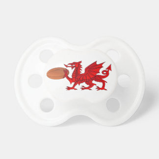 Welsh Dragon With a Rugby Ball Pacifier