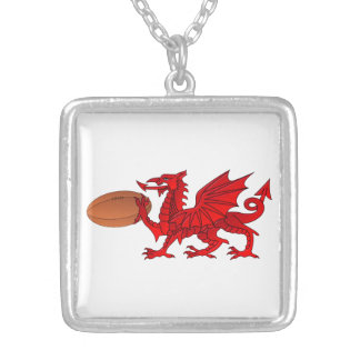 Welsh Dragon With a Rugby Ball Pendant Necklace