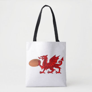 Welsh Dragon With a Rugby Ball Tote Bag