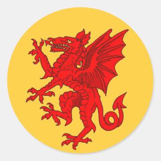 Welsh dragon yellow - Customized Classic Round Sticker
