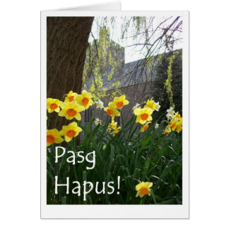 Welsh Easter Card with Daffodils and Church