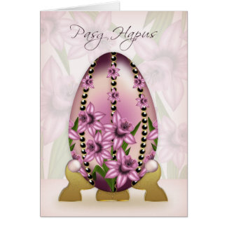 Welsh Easter Card With Decorated Egg And Daffodils