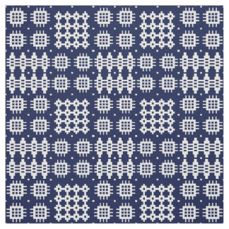 Welsh Faux Tapestry White ondark  Blue Fabric