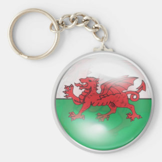 Welsh Flag Basic Round Button Key Ring
