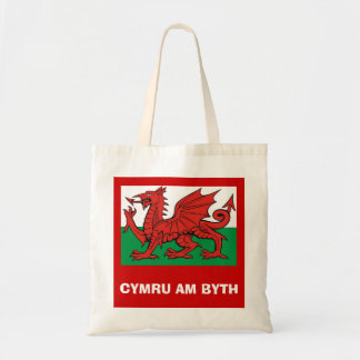 "Welsh flag, ""Cymru am byth"",   The red dragon Tote Bag"