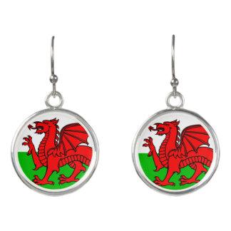 Welsh flag earrings