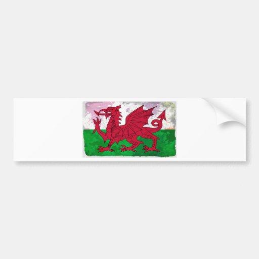 Welsh Flag Grunge Bumper Stickers