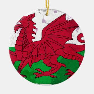 Welsh Flag Grunge Ceramic Ornament