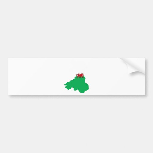 Welsh Flag Map full size Bumper Stickers