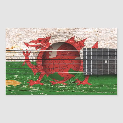 Welsh Flag on Old Acoustic Guitar Rectangular Stickers