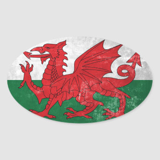 Welsh Flag Oval Sticker
