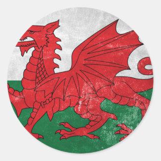 Welsh Flag Round Sticker