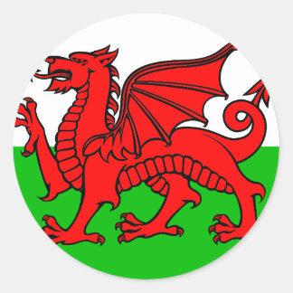 Welsh-Flag Round Sticker
