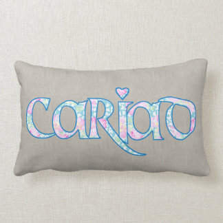 Welsh Floral Text Cariad with Heart Lumbar Pillow