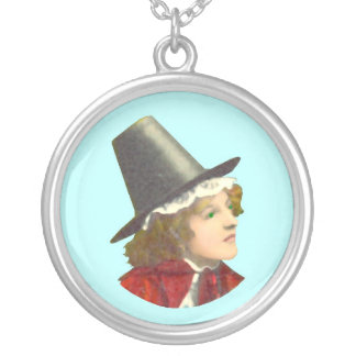 Welsh Girl Cameo Silver Plated Necklace