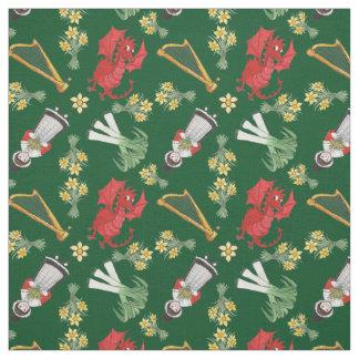 Welsh Girl Dragons Leeks Daffodils Harps on Green Fabric