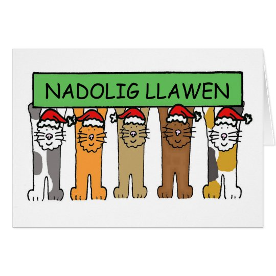 Welsh Happy Christmas Cats Card