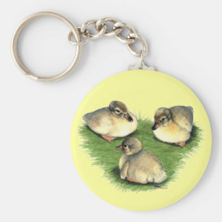 Welsh Harlequin Ducklings Basic Round Button Key Ring