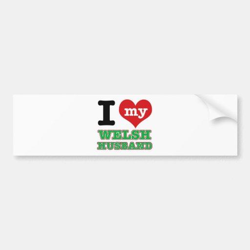Welsh I heart designs Bumper Stickers