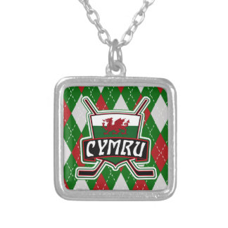 Welsh Ice Hockey Pendant, Wales Flag Silver Plated Necklace
