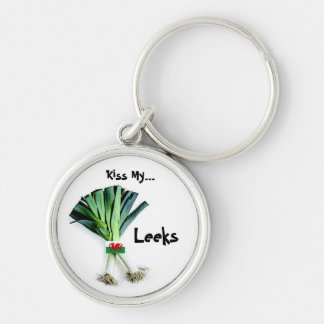 Welsh - Kiss My Leeks Keyring Silver-Colored Round Key Ring