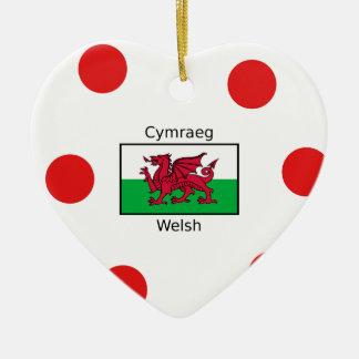 Welsh Language And Wales Flag Design Ceramic Ornament
