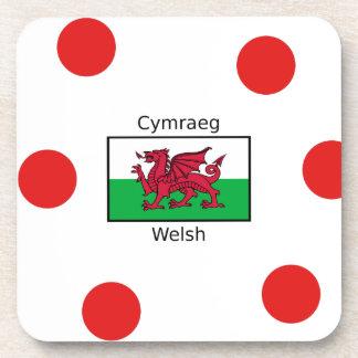 Welsh Language And Wales Flag Design Coaster