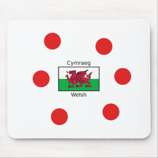 Welsh Language And Wales Flag Design Mouse Pad