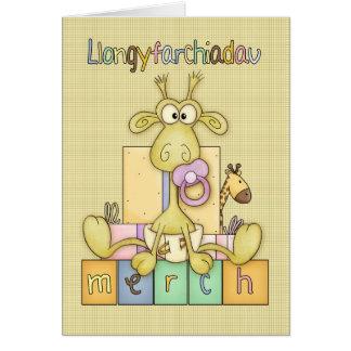 Welsh New Baby Girl Congratulations, Llangyfarchia Greeting Card