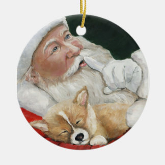 Welsh Pembroke Corgi and Santa Art Ornament