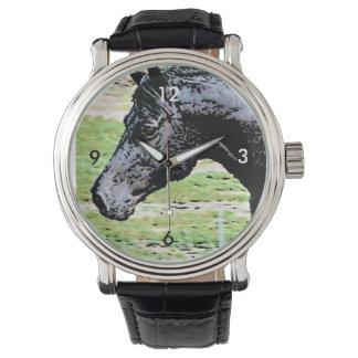 Welsh Pony Black Horse Head Ink Drawing Art Watch