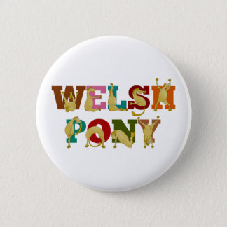 Welsh Pony with colorful text 6 Cm Round Badge