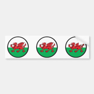 Welsh quality Flag Circle Bumper Sticker