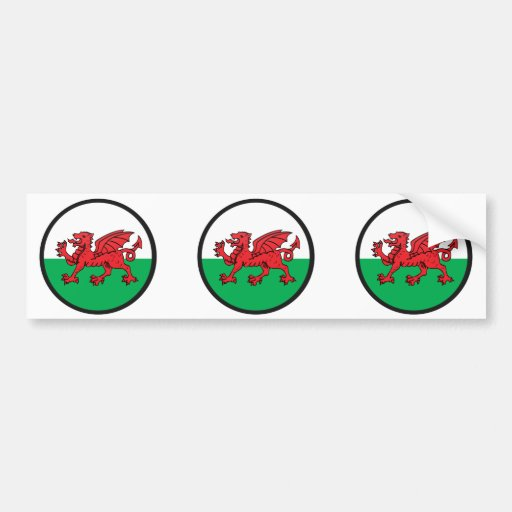 Welsh quality Flag Circle Bumper Sticker