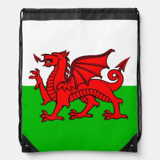 Welsh Red Dragon Wales Flag Drawstring Bag