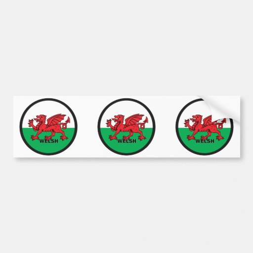 Welsh Roundel quality Flag Bumper Sticker