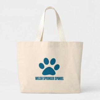 WELSH SPRINGER SPANIEL DOG DESIGNS LARGE TOTE BAG