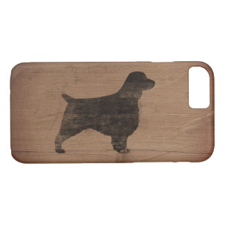 Welsh Springer Spaniel Silhouette Rustic iPhone 8/7 Case