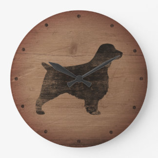 Welsh Springer Spaniel Silhouette Rustic Large Clock