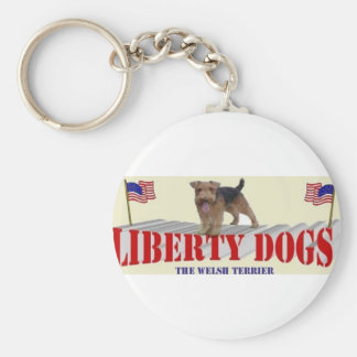 Welsh Terrier Basic Round Button Key Ring