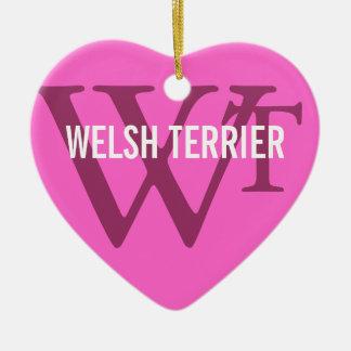 Welsh Terrier Breed Monogram Ceramic Heart Decoration